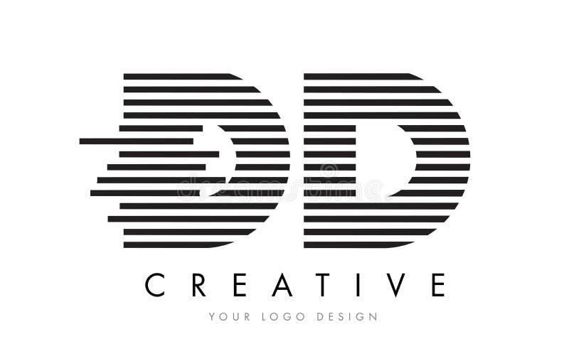 Letra Logo Design de la cebra de la DD D D con las rayas blancos y negros stock de ilustración