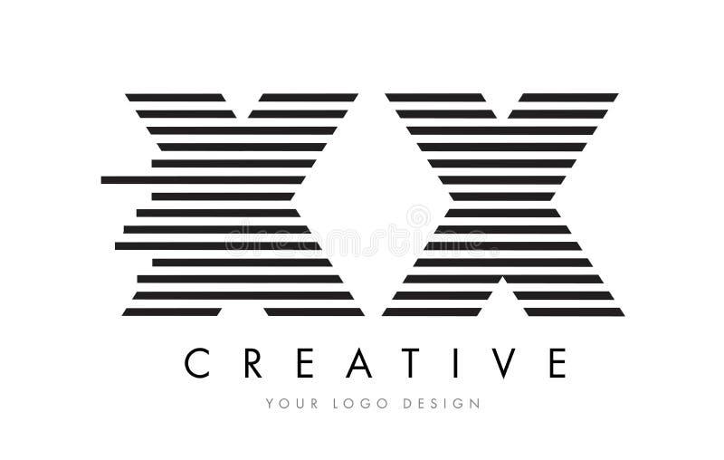 Letra Logo Design de la cebra XX x X con las rayas blancos y negros ilustración del vector