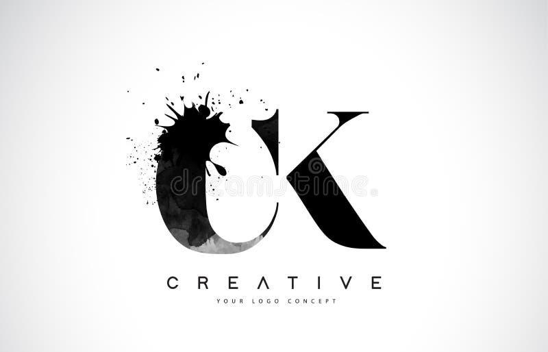Letra Logo Design de las CK C K con derramamiento negro del chapoteo de la acuarela de la tinta stock de ilustración