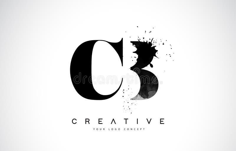 Letra Logo Design de los CB C B con derramamiento negro del chapoteo de la acuarela de la tinta stock de ilustración
