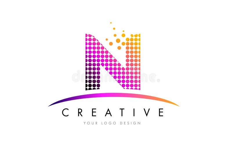 Letra Logo Design de N com pontos magentas e Swoosh ilustração royalty free