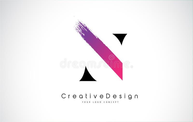 Letra Logo Design de N con el movimiento púrpura rosado creativo del cepillo libre illustration