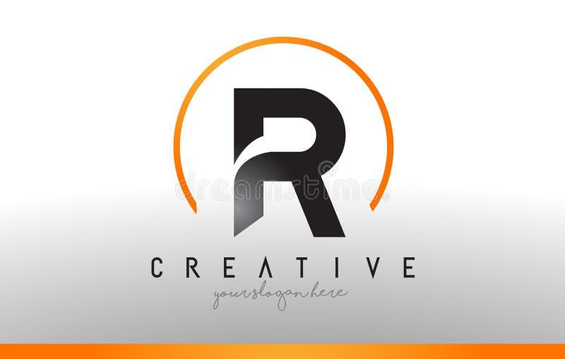 Letra Logo Design de R com cor alaranjada preta Ícone moderno fresco T ilustração do vetor