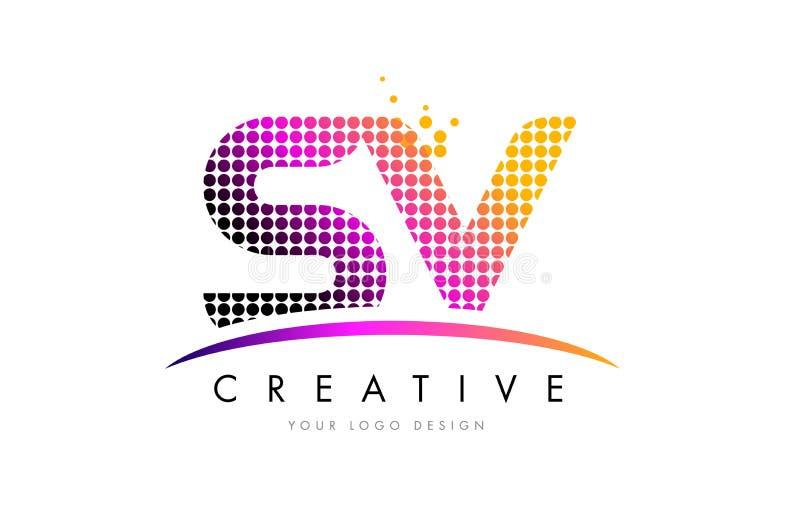 Letra Logo Design de SV S V com pontos magentas e Swoosh ilustração stock