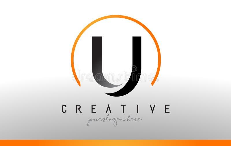 Letra Logo Design de U com cor alaranjada preta Ícone moderno fresco T ilustração stock