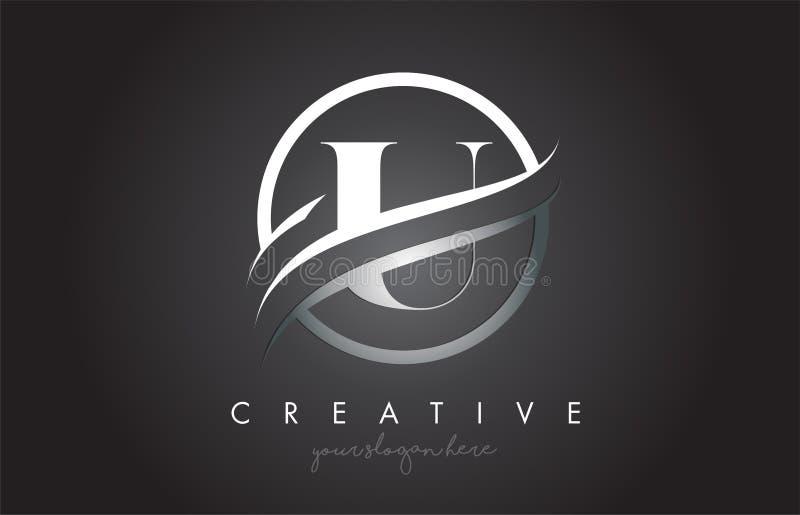 Letra Logo Design de U con la frontera de acero de Swoosh del círculo y el diseño creativo del icono stock de ilustración