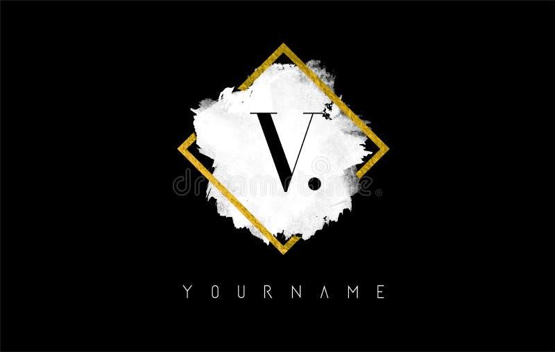 Letra Logo Design de V com curso branco e quadro dourado ilustração royalty free