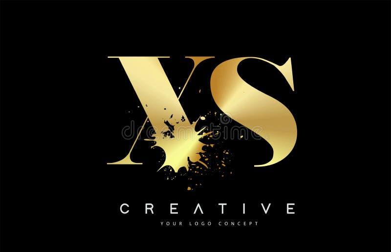 Letra Logo Design de XS X S con vector negro del derramamiento del chapoteo de la acuarela de la tinta ilustración del vector