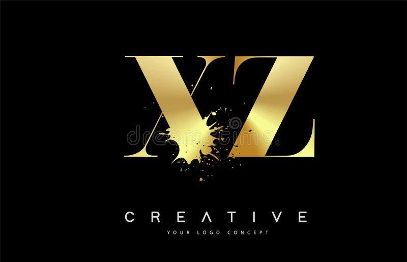 Letra Logo Design de XZ X Z con vector negro del derramamiento del chapoteo de la acuarela de la tinta libre illustration