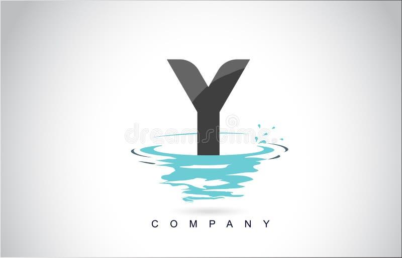 Letra Logo Design de Y com reflexão das gotas das ondinhas do respingo da água ilustração royalty free