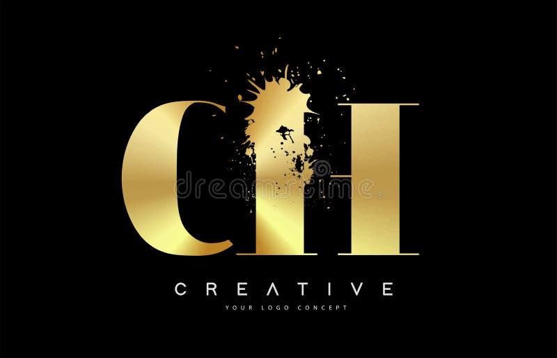 Letra Logo Design del CH C H con vector negro del derramamiento del chapoteo de la acuarela de la tinta ilustración del vector
