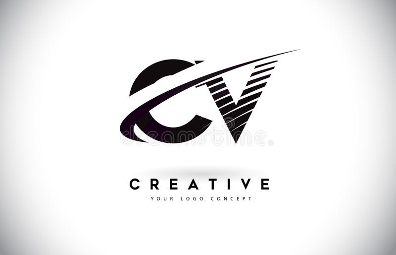 Letra Logo Design del CV C V con Swoosh y las líneas negras stock de ilustración