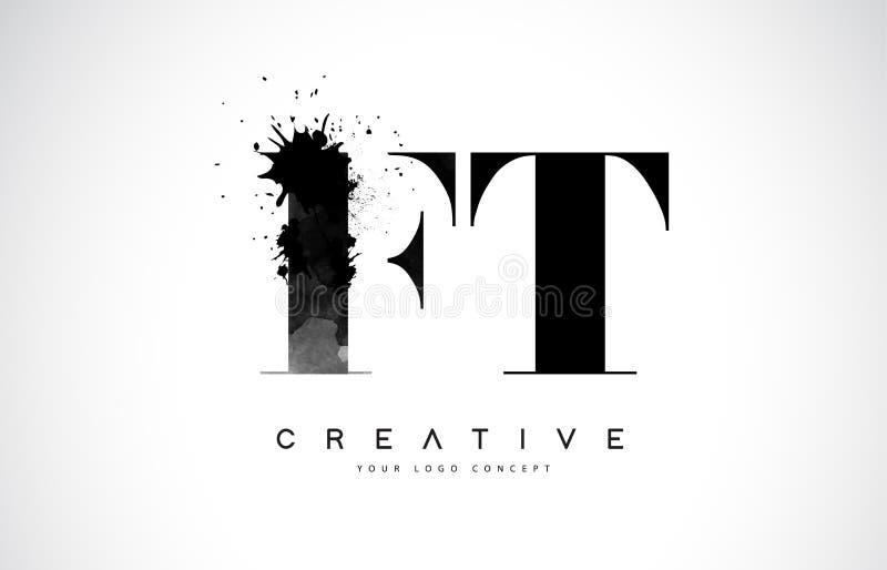 Letra Logo Design del pie F T con derramamiento negro del chapoteo de la acuarela de la tinta libre illustration