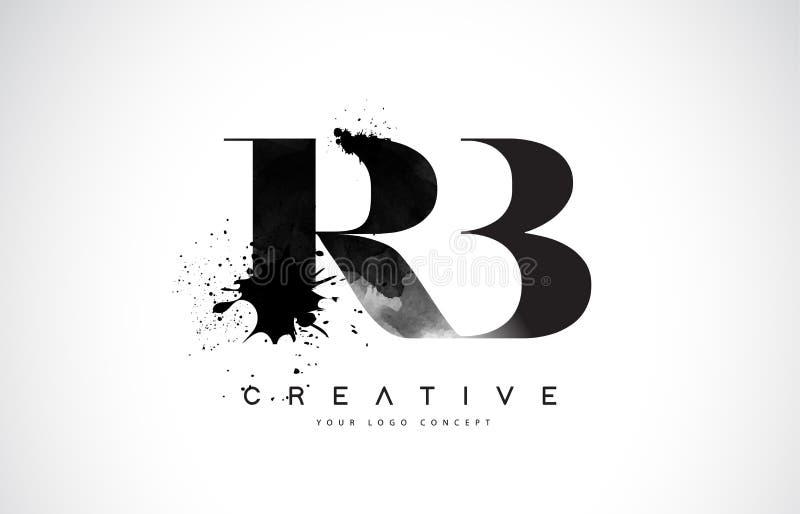 Letra Logo Design del RB R B con derramamiento negro del chapoteo de la acuarela de la tinta libre illustration