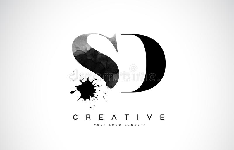 Letra Logo Design del SD S D con derramamiento negro del chapoteo de la acuarela de la tinta ilustración del vector