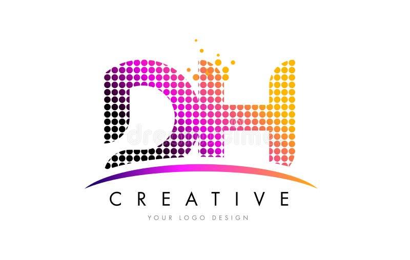 Letra Logo Design do AO D H com pontos magentas e Swoosh ilustração stock