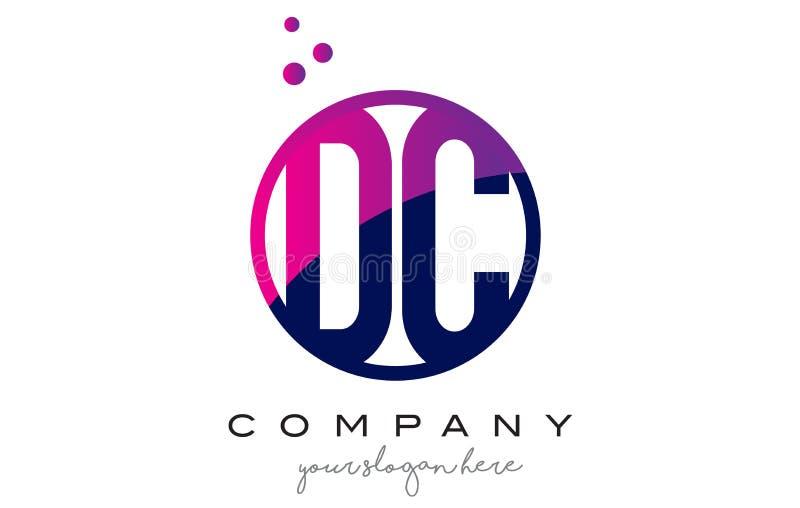 Letra Logo Design do círculo da C.C.D C com Dots Bubbles roxo ilustração do vetor