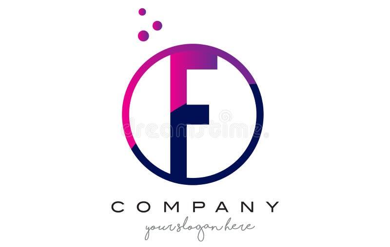 Letra Logo Design do círculo de F com Dots Bubbles roxo ilustração stock