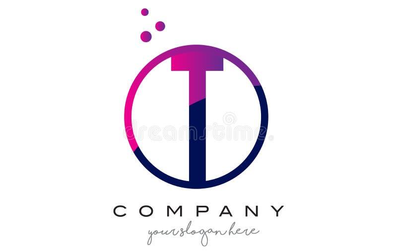 Letra Logo Design do círculo de T com Dots Bubbles roxo ilustração stock