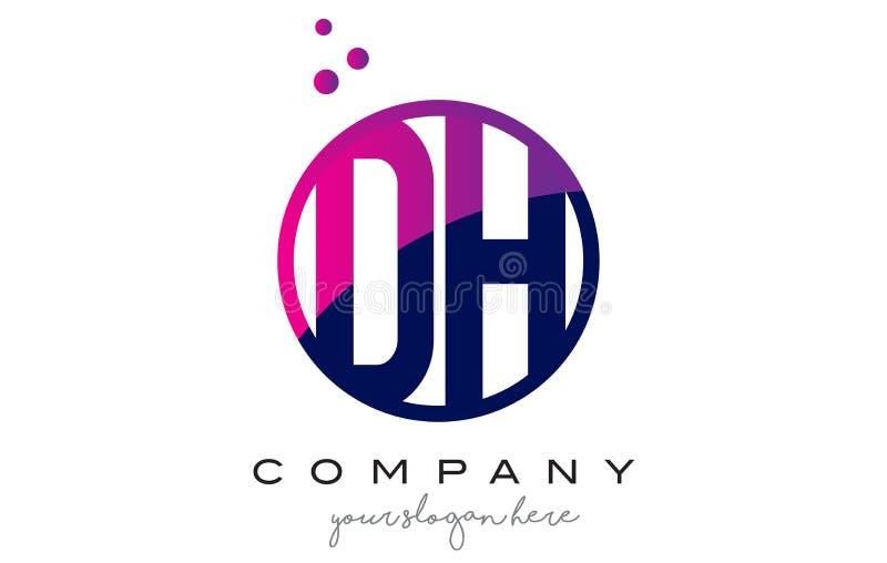 Letra Logo Design do círculo do AO D H com Dots Bubbles roxo ilustração stock