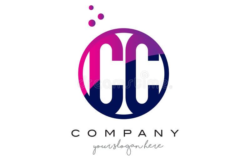 Letra Logo Design do círculo do centímetro cúbico C C com Dots Bubbles roxo ilustração royalty free