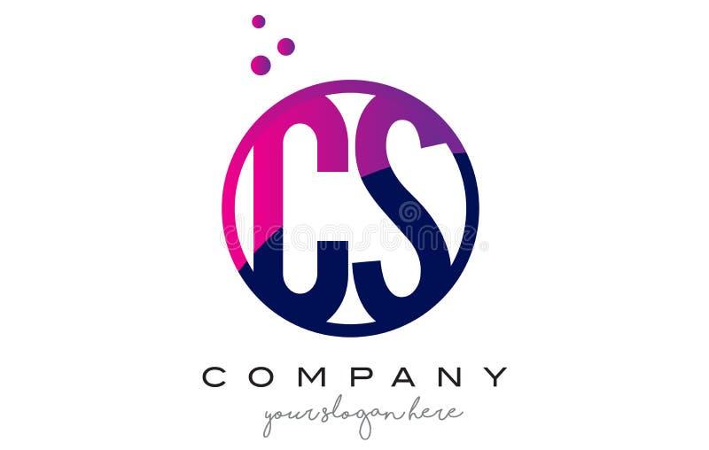 Letra Logo Design do círculo do CS C S com Dots Bubbles roxo ilustração royalty free