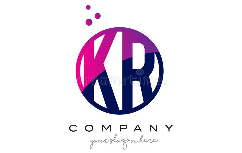 Letra Logo Design do círculo do KR K R com Dots Bubbles roxo ilustração do vetor
