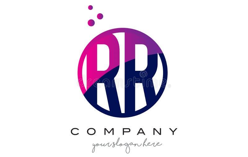 Letra Logo Design do círculo do RR R com Dots Bubbles roxo ilustração royalty free