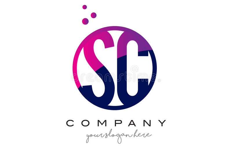 Letra Logo Design do círculo do SC S C com Dots Bubbles roxo ilustração royalty free