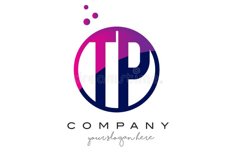 Letra Logo Design do círculo do TP T P com Dots Bubbles roxo ilustração do vetor