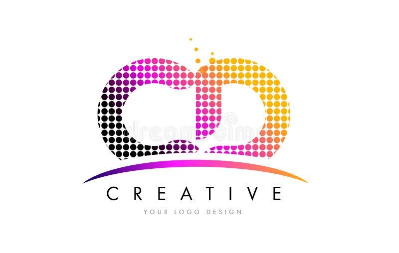 Letra Logo Design do CD C D com pontos magentas e Swoosh ilustração royalty free