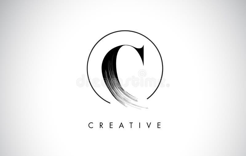 Letra Logo Design do curso da escova de C Pintura preta Logo Leters Icon ilustração royalty free