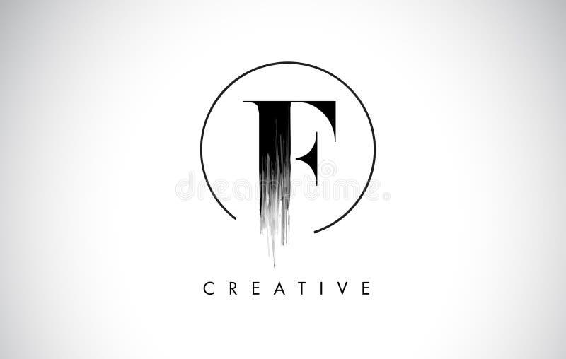 Letra Logo Design do curso da escova de F Pintura preta Logo Leters Icon ilustração royalty free