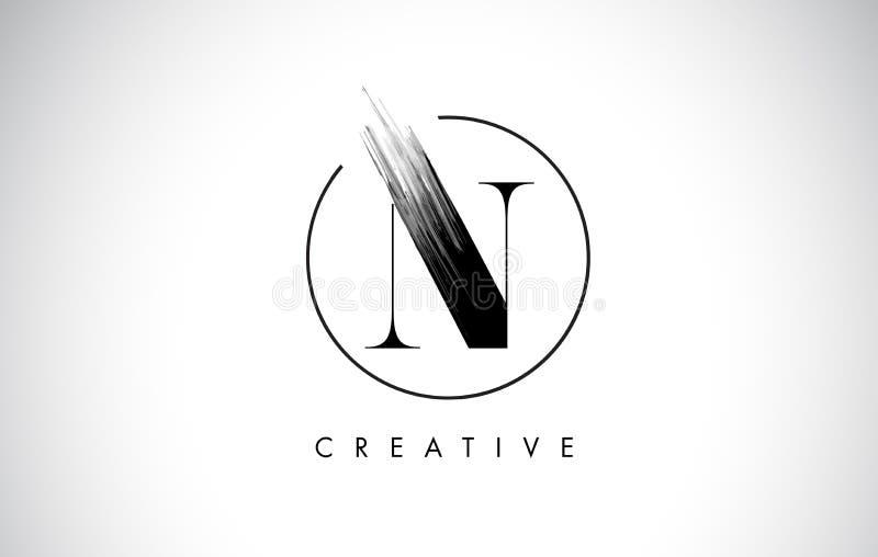 Letra Logo Design do curso da escova de N Pintura preta Logo Leters Icon ilustração stock
