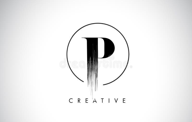 Letra Logo Design do curso da escova de P Pintura preta Logo Letters Icon ilustração royalty free