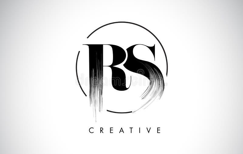 Letra Logo Design do curso da escova de RS Pintura preta Logo Leters Icon ilustração do vetor