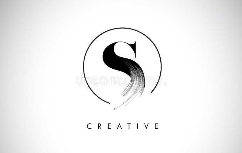Letra Logo Design do curso da escova de S Pintura preta Logo Leters Icon ilustração royalty free