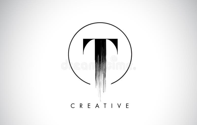 Letra Logo Design do curso da escova de T Pintura preta Logo Leters Icon ilustração royalty free