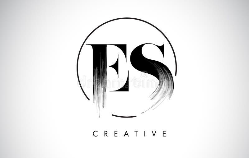 Letra Logo Design do curso da escova do ES Pintura preta Logo Leters Icon ilustração stock