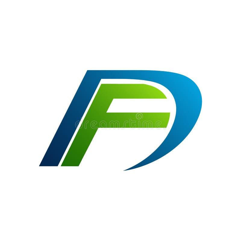Letra Logo Design do FD F D em cores pretas Lette moderno criativo ilustração stock