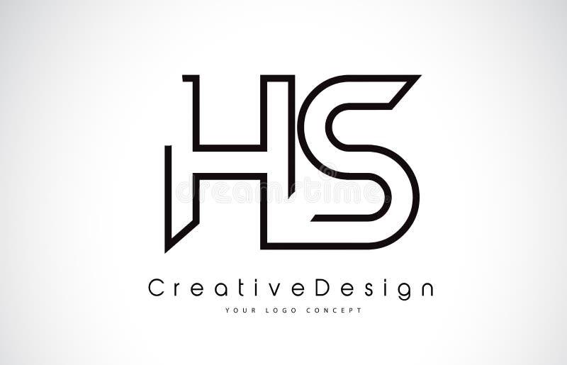 Letra Logo Design do HS H S em cores pretas ilustração stock