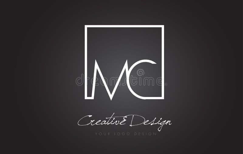 Letra Logo Design do quadro do quadrado de MC com cores preto e branco ilustração royalty free