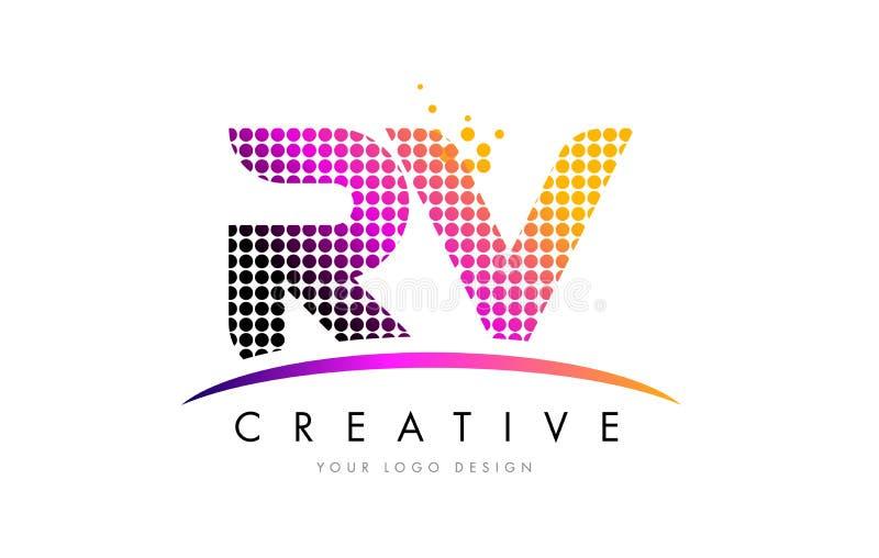Letra Logo Design do rv R V com pontos magentas e Swoosh ilustração do vetor