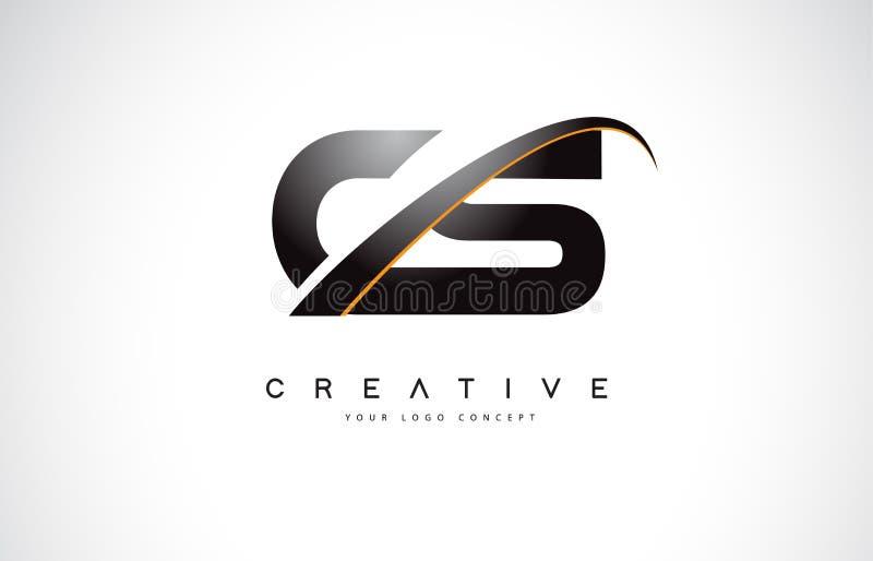 Letra Logo Design do Swoosh do CS C S com a curva amarela moderna do Swoosh ilustração stock