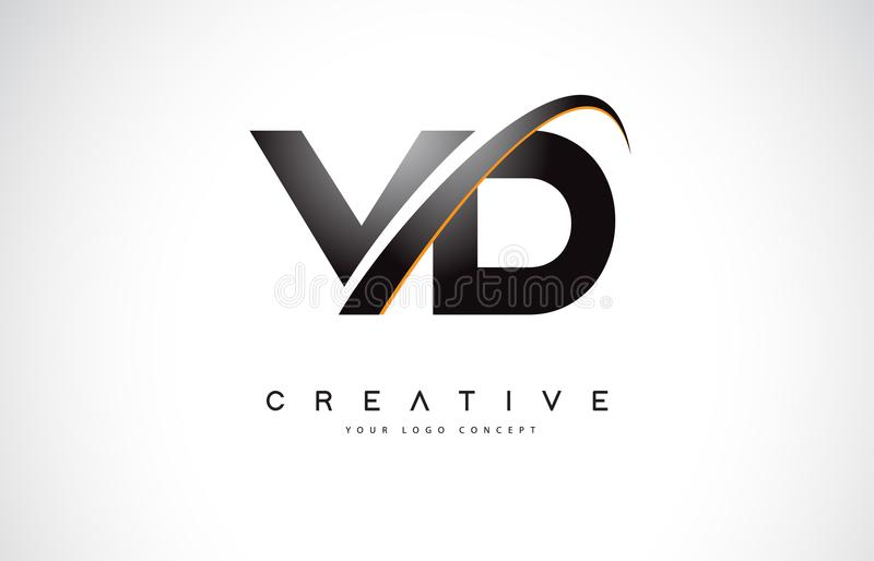 Letra Logo Design do Swoosh de VD V D com a curva amarela moderna do Swoosh ilustração stock
