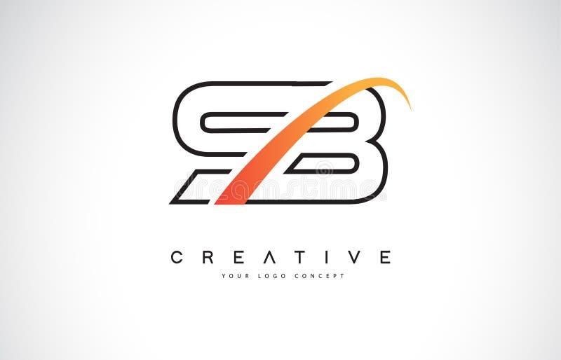 Letra Logo Design do Swoosh do SB S B com a curva amarela moderna do Swoosh ilustração do vetor