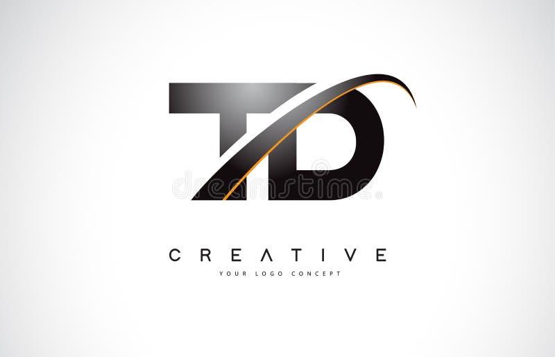 Letra Logo Design do Swoosh do TD T D com a curva amarela moderna do Swoosh ilustração royalty free