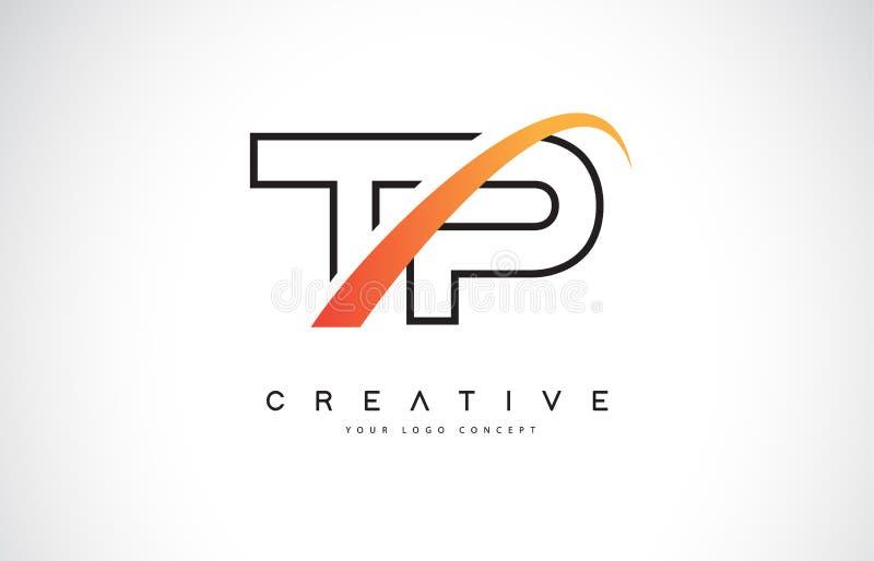 Letra Logo Design do Swoosh do TP T P com a curva amarela moderna do Swoosh ilustração do vetor