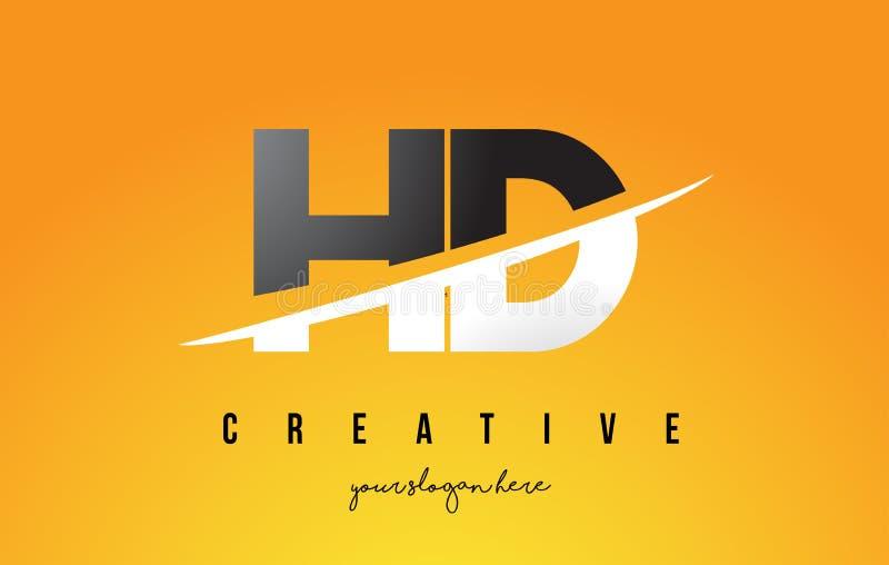 Letra Logo Design moderno de HD H D con el fondo amarillo y Swoo stock de ilustración