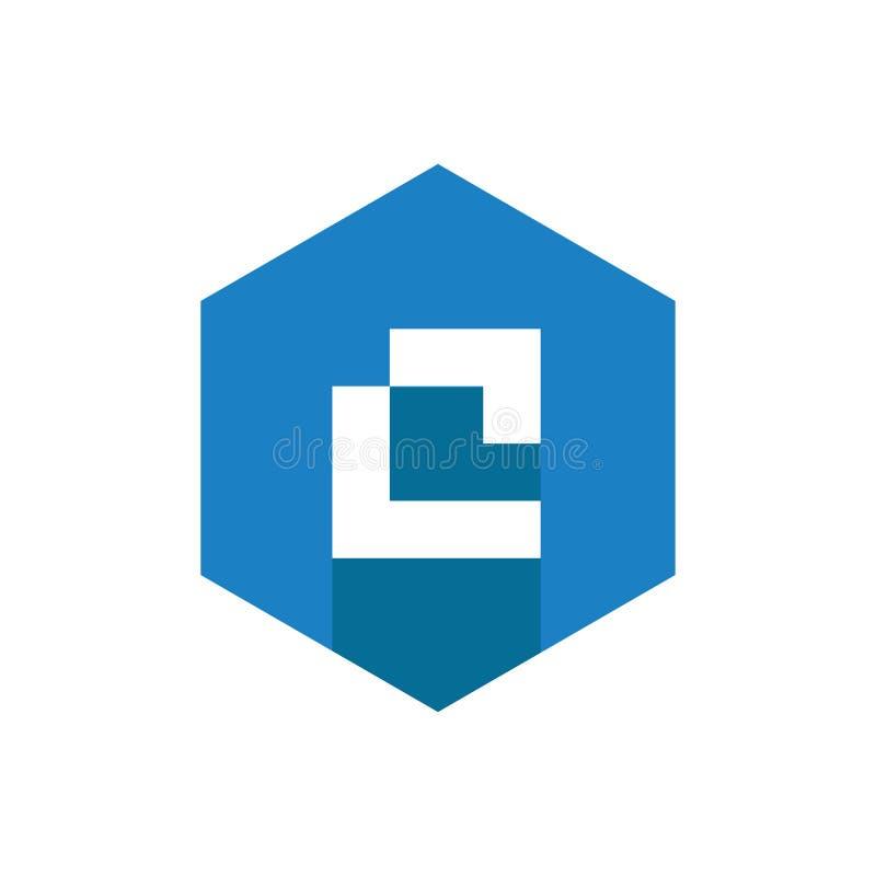 Letra Logo Icon de C, combinado con hexágono azul libre illustration